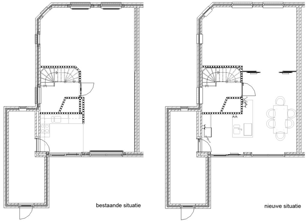 restyling woonkeuken - plattegronden bestaand & nieuw